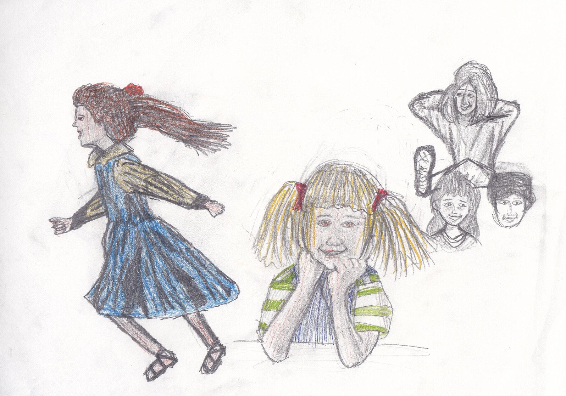 Übungen zum Personen zeichnen, mit Vorlage (1994/95)