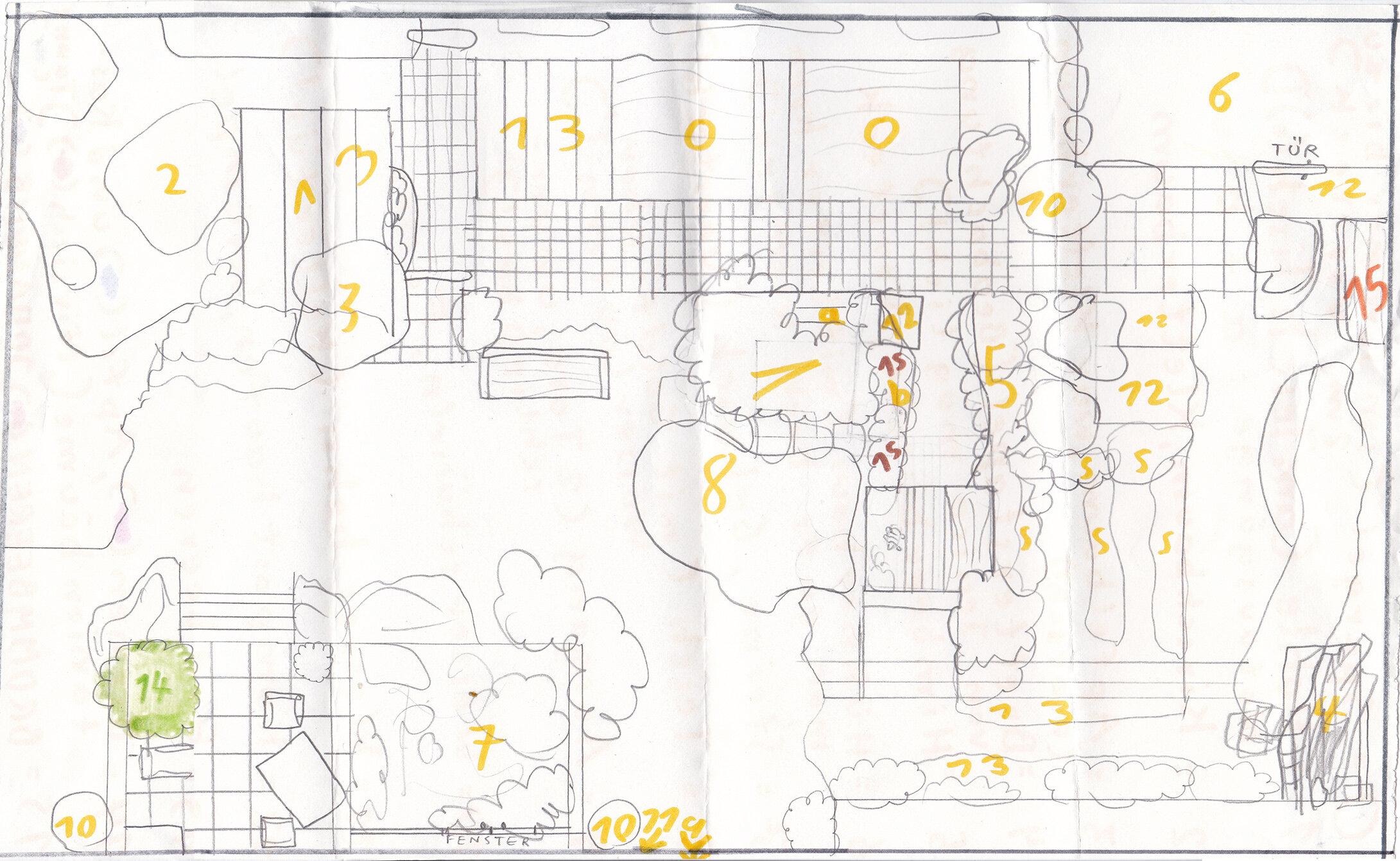 Plan von unserem Garten (um 1994?)