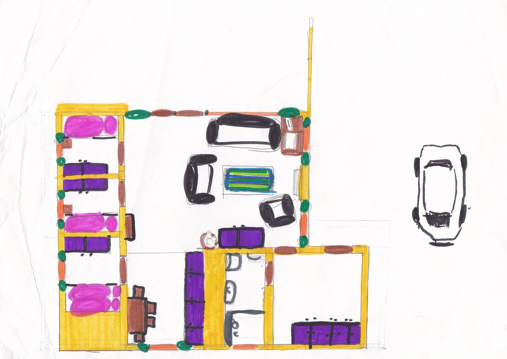 Plan von unserem Ferienhausn in Renesse (um 1994?)