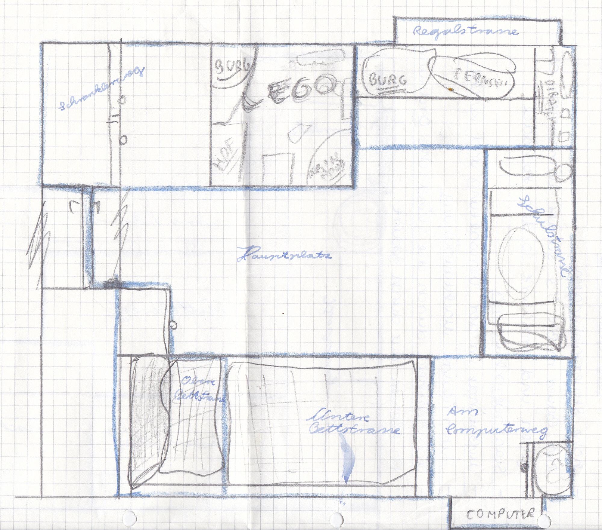 Plan von meinem Zimmer (um 1994?)