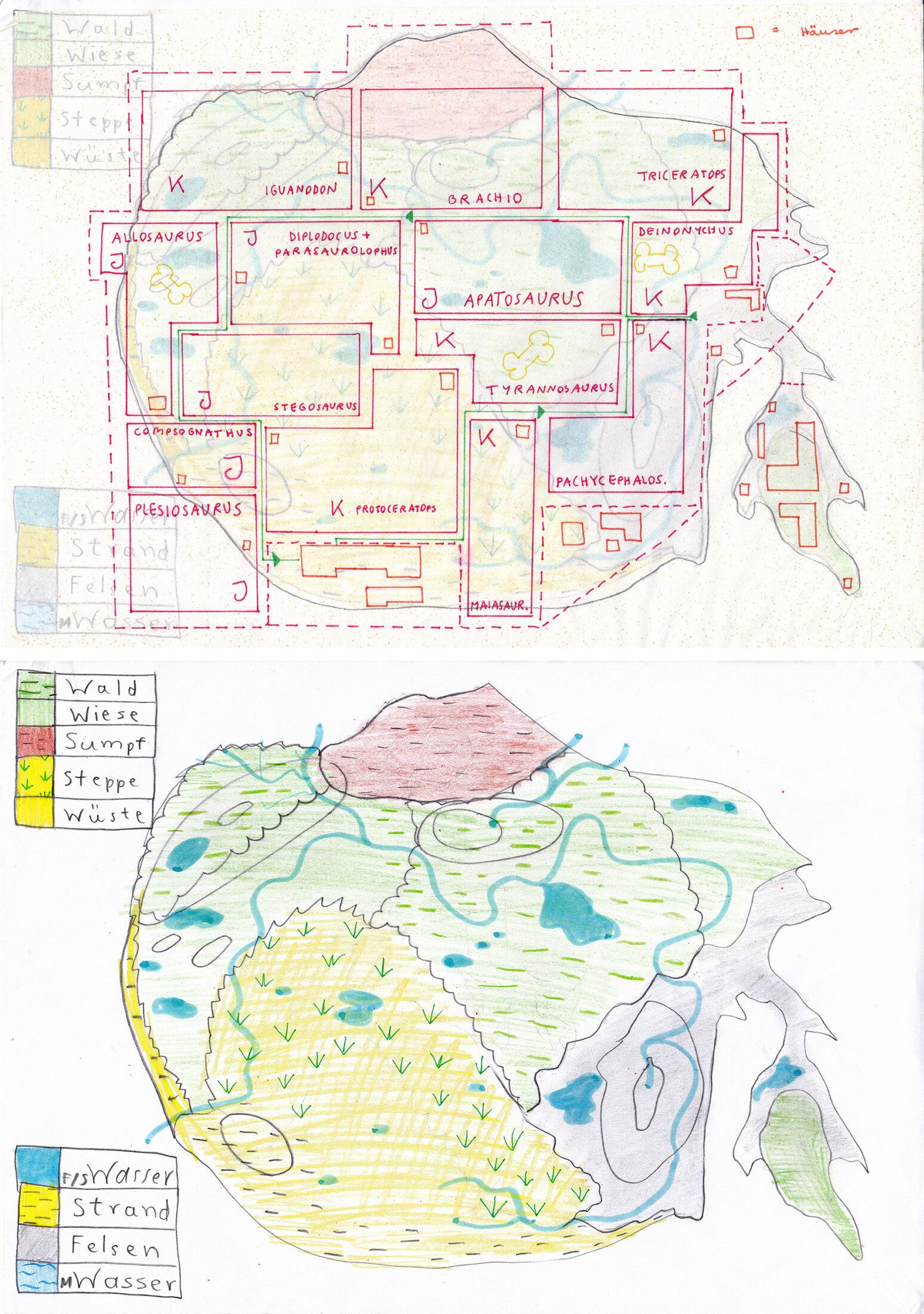 Landkarte Dinopark mit transentem Layer (1996?)