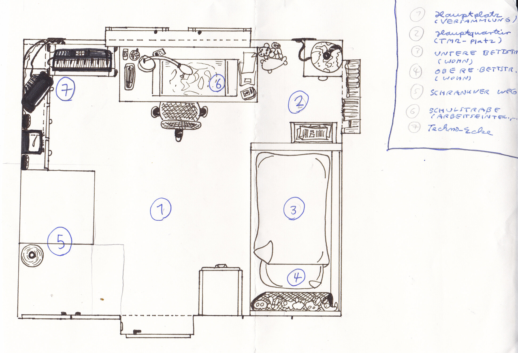 Plan von meinem Zimmer (1997?)