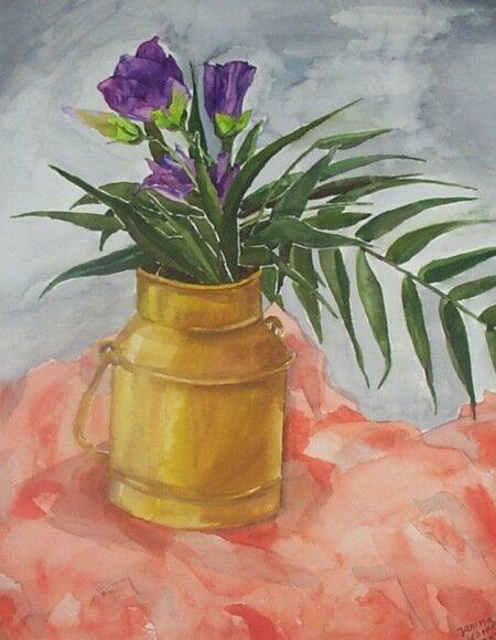 Vase mit lila Blumen, Aquarell (04/1998)