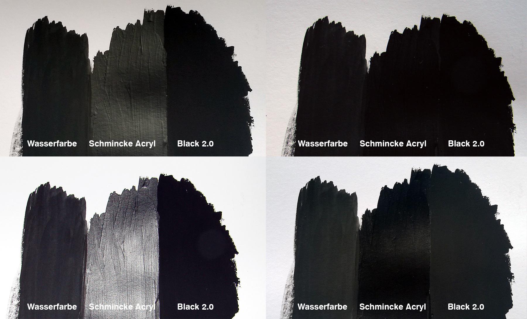 Black 2.0 verglichen mit Wasserfarbe und Schmincke Acrylfarbe